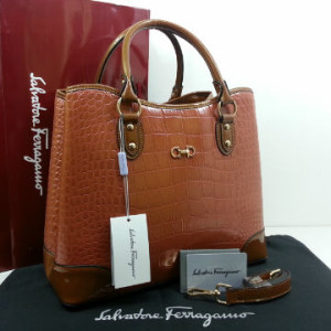 Idr 310rb @SF1140s(Khaki & Khaki) ~ 34x15x28 New Salvatore Ferragamo maribel croco embossed semprem 2tone