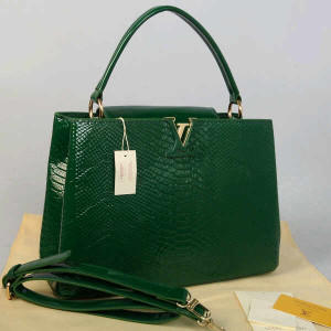 Idr 315rb@48872(Green) ~ 35x13x23 Louis vuitton capucin snake glossy embossed kwalitas super inside suede