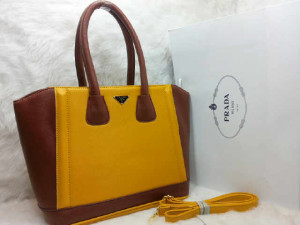 uk 31x14x28  SALSE PRADA TOTE SHOPPER  semi premium 2275 (KUNING COMBI COKLAT)