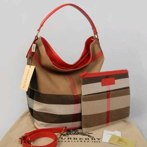Burberry HOBO 1065 @325rb uk~26x20x34cm SEMIPREMIUM  bahan kanvas+sintetis dalaman suede wrn red