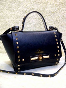 Valentino Stud 9693# Super Uk~23x11x20cm @320rb Black