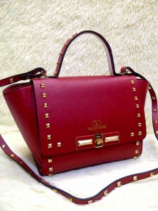 Valentino Stud 9693# Super Uk~23x11x20cm @320rb Maroon