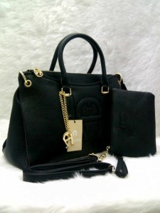 aigner set 0906 @305rb uk~36x14x24cm SUPER bahan kulit jeruk wrn black