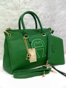 aigner set 0906 @305rb uk~36x14x24cm SUPER bahan kulit jeruk  wrn green