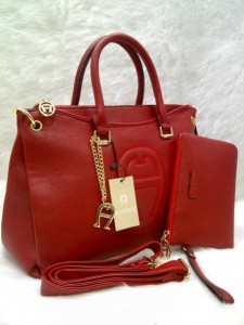 aigner set 0906 @305rb uk~36x14x24cm SUPER bahan kulit jeruk wrn red