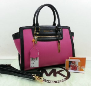 idr 1,5jt - 2509UO(Pink & Black) - 33x15x25 New MK shelma 2tone taega epson premi(1)