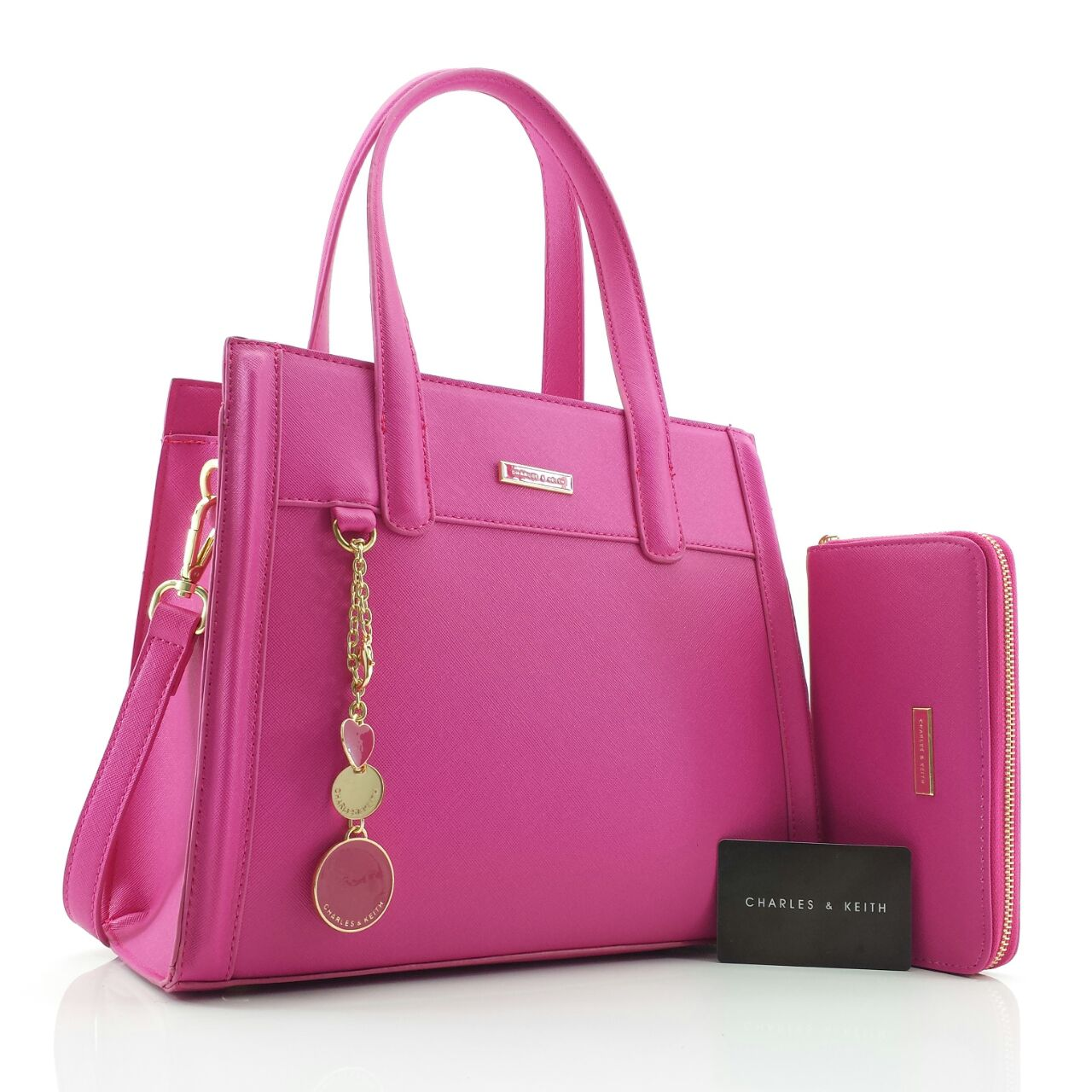 Tas Charles And Keith 9009 Bag Zipper Toko Brand Dompet Semi Kulit Warna Pink