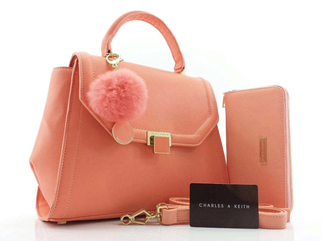 Tas Wanita Charles N Keith Fashion Cewe Daftar Harga  Tangan Branded Ck 00773 Terbaru Set Dompet 043 Semprem