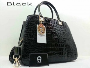 Idr@295 - Aigner montaigne croco glossy A3341YS super uk 33x15x25cm (black)