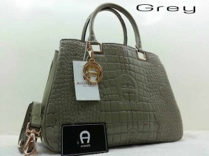 Idr@295 - Aigner montaigne croco glossy A3341YS super uk 33x15x25cm (grey)